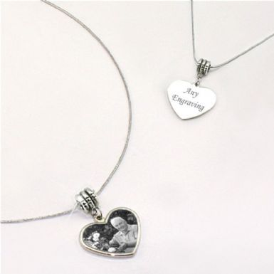 Engraved Photo Heart Memorial Necklace | Someone Remembered